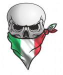 GOTHIC BIKER Pirate SKULL With Face Bandana & Italy Italian il Tricolore Flag Motif External Vinyl Car Sticker 110x75mm